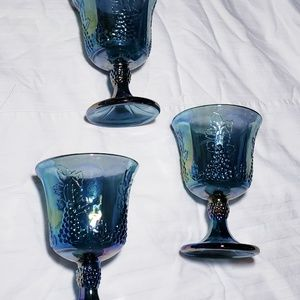 Harvest Grape Indiana Blue Carnival Glass Goblets